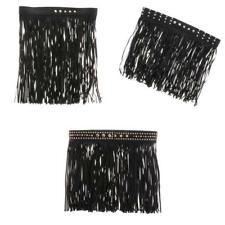Black Hippie Faux Leather Long Wrap Waist Fringe Tassel Skirt Belt Fringe Belt