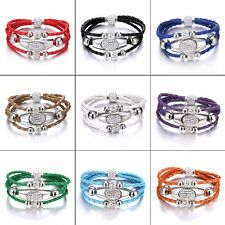 Braided Magnetic Cord Leather Crystal Bead Wristband Cuff Charm Bangle Bracelet