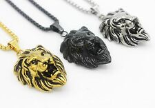 Silver/Gold/Black Tone Fashion Men's Lion Stainless Steel Pendant Necklace