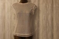 Karen Millen Broderie Lace Sheer Panel Mesh Top T Shirt Blouse  8 36  Ivory