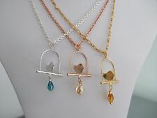 Silver, Rose Gold or Gold Plated Metal Bird on Perch & Crystal Bead Pendants