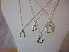 Sterling Silver 925 Charm Pendant Necklaces with 925 Sterling Silver Chains
