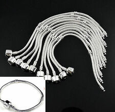 10pc Wholesale Lots Fashion New Charms Snake Chain Bracelet Plain Clasp Silver A