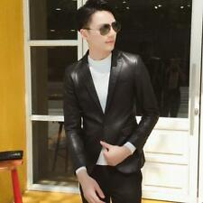 Slim Fit Mens PU Leather Blazer Jacket Bar Clubwear DJ Coat Motor Biker Jacket