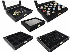 Black Velvet Jewerly Glass Top Lid Display Travel box for Ring Pendant Earrings