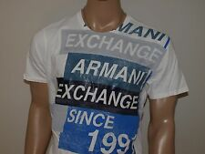 Armani Exchange Authentic AX Rubber Tape Logo T Shirt White NWT