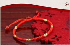 Hand Braided Red Lucky String Rope 14K Gold plated Adjustable Bracelet POP