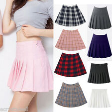 Women Girl Tennis High Waist Plain Skater Flared Pleated Short Mini Skirt Shorts