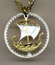 "Cyprus 5 Mils Silver & Gold Plated 18"" or 24"" (cut out Ship) Coin Necklace #2"