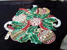 """NEW FRONTGATE KIM SEYBERT CHRISTMAS HOLIDAY 18"""" BEADED PLACEMAT HAND"""