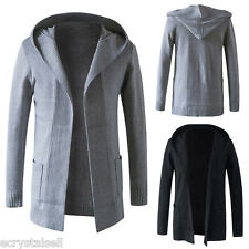 Men's Casual Hoodied Slim Fit Long Sleeve Knitted Cardigan Pocket Coat Sweater