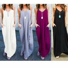 Hippie Boho Women Summer Evening Cocktail Party Beach Long Maxi Pure Color Dress