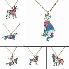 Fashion Enamel Cat Butterfly Animal Charm Pendant Gold Chain Necklace Jewellery