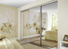 STYLISH MADE TO MEASURE FITTED SLIDING MIRROR WARDROBE DOORS & TRACK SET