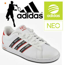 adidas Neo Derby Trainers Mens 3 Stripe Tennis Shoes Sport Gym Running White