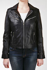 Black Waxed Ladies Women's Smart Retro Vintage Real Sheep Leather Biker Jacket
