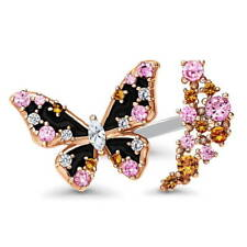 BERRICLE Sterling Silver CZ Butterfly Open Fashion Cocktail Ring