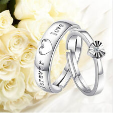 Beautiful silver Forever Love Zircon Heart Opening Adjustable Lover Couple Rings