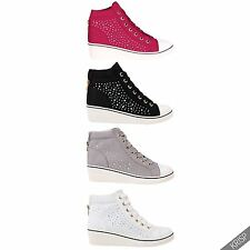 US Womens Gem Canvas High Heel Wedge Sneakers Low Top Lace Up Shoes