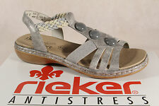 Rieker Ladies Sandals Sneakers silver MemoSoft Footbed faux leather new