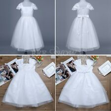 Kids White Communion Party Princess Wedding Pageant Bridesmaid Flower Girl Dress