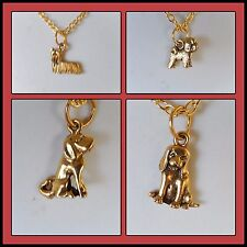 Dog charm necklaces gold plated chain beagle labrador bichon frise yorkie terrie