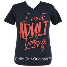 "Girlie Girl Originals ""Can't Adult Today"" V-Neck Navy Short Sleeve T-Shirt"
