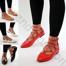New Womens Pointed Ballet Flats Ankle Lace Up Sandals Comfy Pumps Casual Shoes