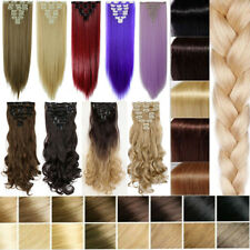 US 100% Real Natural Full Head Clip in Hair Extensions 8 Pieces Straight Wavy ap