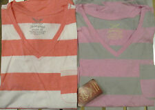 2 Pack Faded Glory XXL Short Sleeve V-Neck Tee striped Pink&Grey / Peach/white