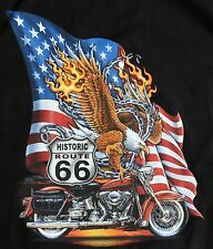 USA Route 66 road Sign Eagle & HD Road King Cruiser Biker Motorcycle T Shirt