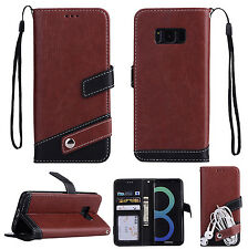 Luxury Leather Flip Stand Wallet Case With Hand Strap Cover For iPhone Samsung