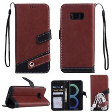 Luxury Leather Flip Stand Wallet Case With Hand Strap Cover For iPhone Samsung N