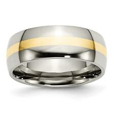 Titanium 14k Yellow Gold Inlay 8mm Polished Band TB224
