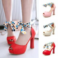 Womens Lace Up Open Toe Platforms Shoes High Heels Party Prom Club Sandals Sexy