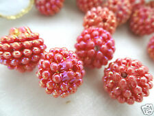15mm IRIDESCENT OPAQUE INDIAN RED ACRYLIC PLASTIC BERRY LOOSE BEADS HP01863