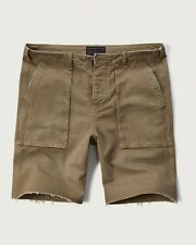 "New Abercrombie Fitch Men 9"" Khaki Utility Cut-Off Short Vintage Sizes 31 or 32"