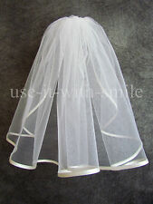 "IVORY 1 TIER WEDDING HOLY COMMUNION VEIL 18"" NEW UK"
