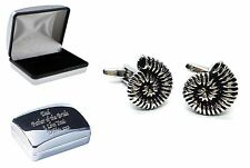 Ammonite Fossil Metal Cufflinks +Case can be Engraved Personalised X2AJ662+XDCB