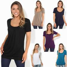 Womens Ladies Plain Loose Pleated Long Jersey Top T Shirt Tunic Blouse Plus 8-20