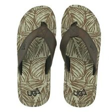 MENS URBAN BEACH COLORADO BROWN LEATHER TOE POST FLIP FLOP BEACH SANDALS