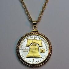 "Franklin Half ""Liberty Bell"" Handmade Silver & 24 k Gold Plated Coin Necklace"