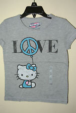 New HELLO KITTY Kids Girls T-SHIRT TEE  Heart Love Peace XS L XL Grey Old Navy
