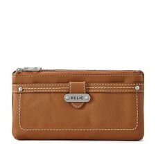 BRAND NEW RELIC by FOSSIL ALEXIS CHECKBOOK WALLET SADDLE