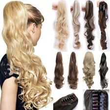Real Quality Claw On Ponytail Clip In Natural Ponytail Long Curly Wavy Hair AP1