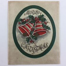 1950's-1960's Vintage Used Christmas Greeting Card Mid Century Bells w/ Holly