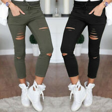 Slim Fit Ladies Pants Skinny Leggings Trousers New Womens Stretchy  Faded Ripped