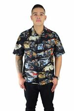 Hemet Men's Vintage Classic Cars Print Bowling Shirt Snap Closure Retro