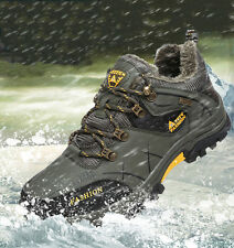 Men Big Size Snow Boots Fur Lined Waterproof Antiskid Trail Hiking Outdoor Shoes