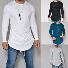 Fashion Men's Slim Fit V Neck Long Sleeve Muscle Tee T-shirt Casual Tops